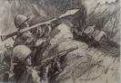 Бутяев П.И.1936г.р. Афган.Бой в ущелье, 1987 г. картон, карандаш 21х15