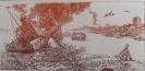 Бутяев П.И.1936 г.р. Бой на Волге, до 2003 г. бумага, линогравюра 9,5х19,7