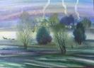 Вильде В.Г.1953г.р. Холодный вечер,2004г. бумага, акварель, 54х75