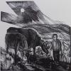 Вильде В.Г.1953г.р. Пастушок с коровами,1994г. бумага, линогравюра, 30х30