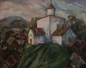 Вильде В.Г. 1953г.р. Пейзаж с церковью, 1989 г. холст, масло