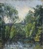Вильде В.Г. 1953 г.р. Пейзаж у пруда, 1987 г. картон, масло