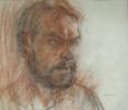Латышенко В.Н. 1957г.р. Портрет Бородавкина А.В.. 1992 г. бум. сангина, уголь